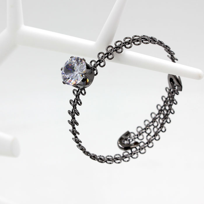 metal tattoo choker bracelet, AAA 12mm Zircon crystal stones, gunmetal color,1 pc