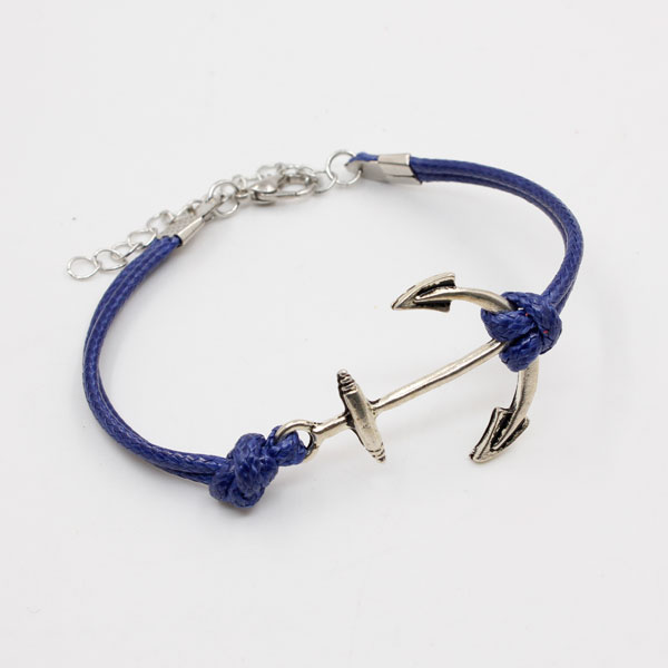 anchor Waxed Cords bracelet blue, 1pc