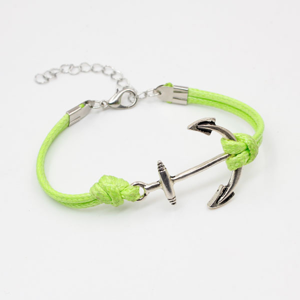 anchor Waxed Cords bracelet green, 1pc