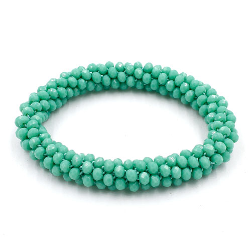 Weave crystal braclet, turquoise color, 10mm Thickness