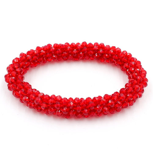 Weave crystal braclet, red color, 10mm Thickness