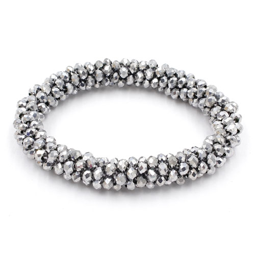 Weave crystal braclet, silver color, 10mm Thickness