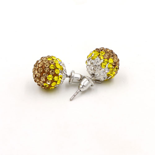 12mm Bling Disco Ball Beads Ear Studs Earrings, #07, 1 pair