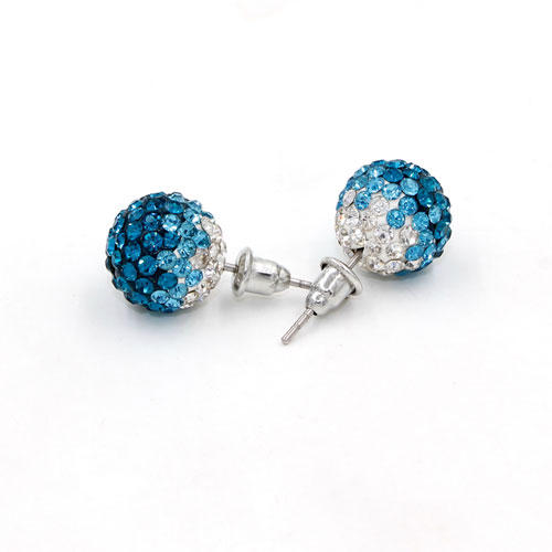 12mm Bling Disco Ball Beads Ear Studs Earrings, #08, 1 pair
