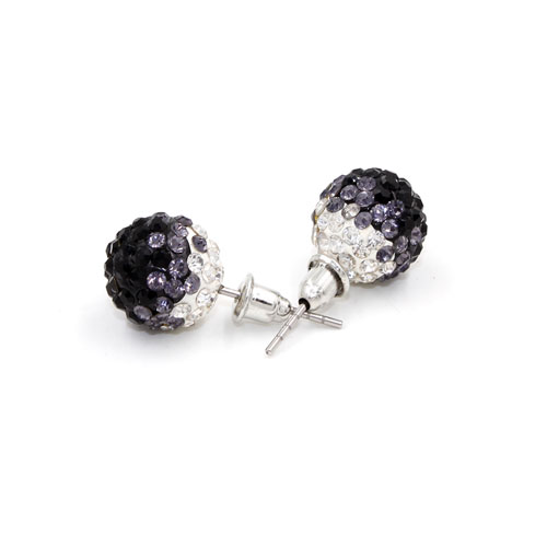 12mm Bling Disco Ball Beads Ear Studs Earrings, #09, 1 pair