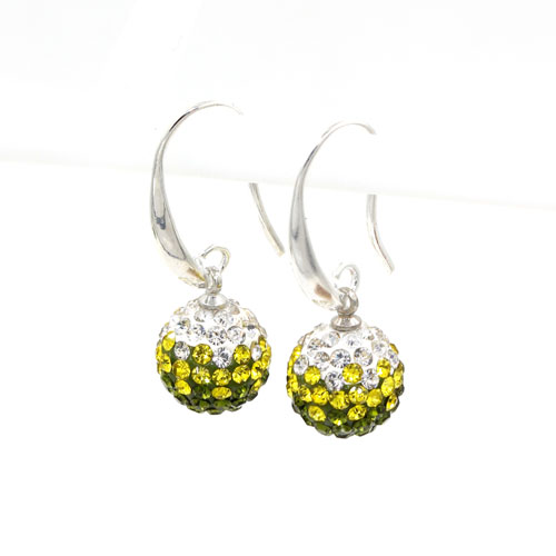 12mm Bling Disco Ball Beads Ear Drop Earrings, #01, 1 pair