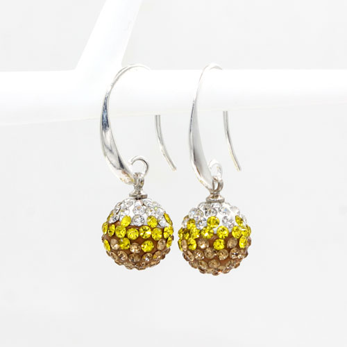 12mm Bling Disco Ball Beads Ear Drop Earrings, #02, 1 pair
