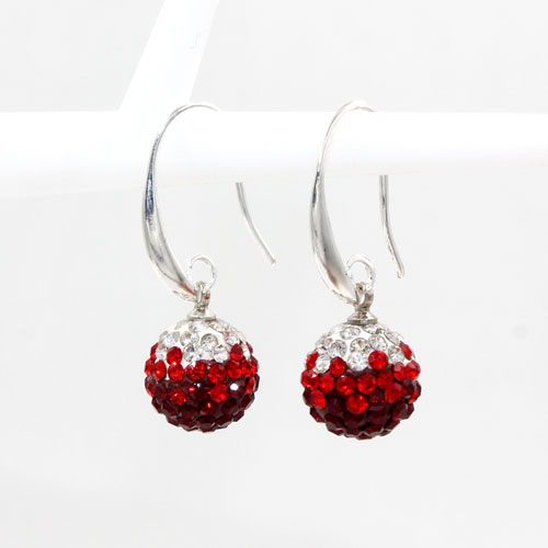 12mm Bling Disco Ball Beads Ear Drop Earrings, #04, 1 pair
