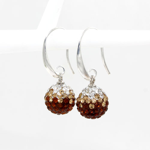 12mm Bling Disco Ball Beads Ear Drop Earrings, #05, 1 pair