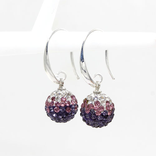 12mm Bling Disco Ball Beads Ear Drop Earrings, #06, 1 pair