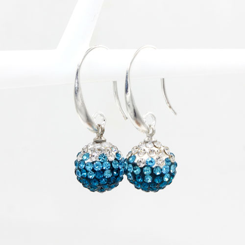 12mm Bling Disco Ball Beads Ear Drop Earrings, #07, 1 pair