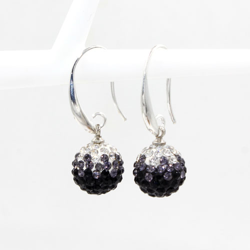 12mm Bling Disco Ball Beads Ear Drop Earrings, #08, 1 pair