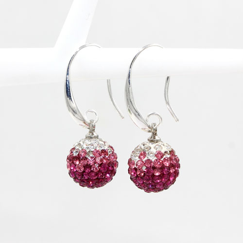 12mm Bling Disco Ball Beads Ear Drop Earrings, #09, 1 pair