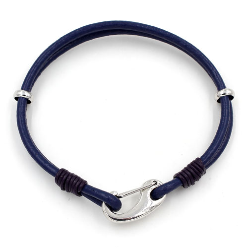 Carabiner Clasp Bracelet, 2.5mm round leather, silver clasp, 2-Coil blue leather Bracelet