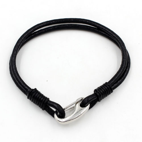 Carabiner Clasp Bracelet, 3mm round leather, silver clasp, 2-Coil black leather Bracelet