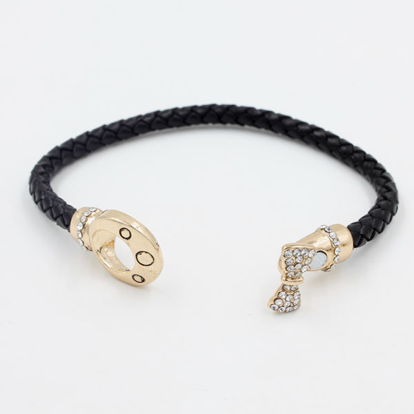 Black Genuine Leather Cord Bracelet, Rose gold Plated Bow Magnetic clasp