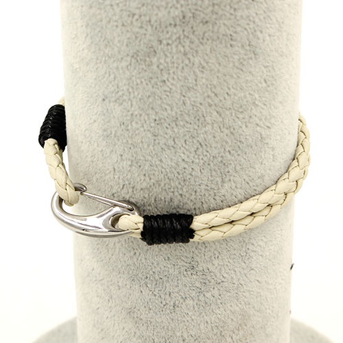 Stainless steel Men's Braided Leather Bracelets Clasp, Beige color