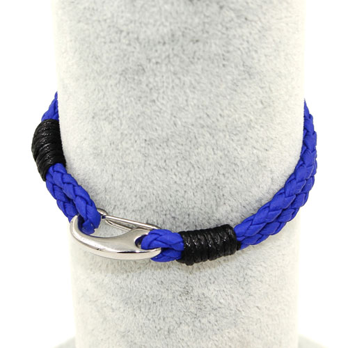 Stainless steel Men's Braided Leather Bracelets Clasp, blue color