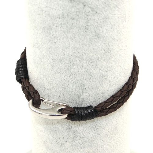 Stainless steel Men's Braided Leather Bracelets Clasp, coffee color