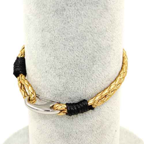 Stainless steel Men's Braided Leather Bracelets Clasp, gold color