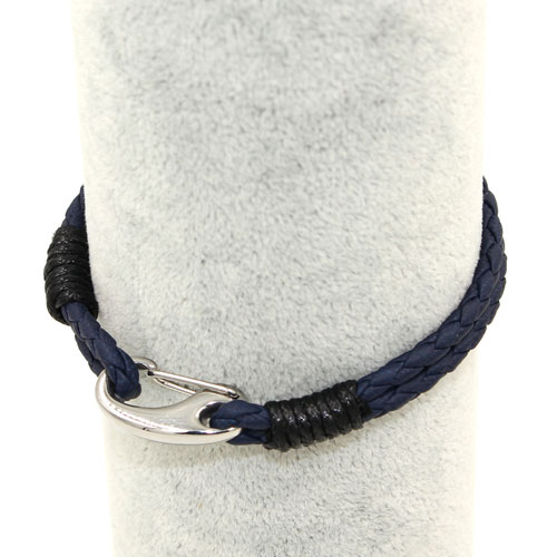 Stainless steel Men's Braided Leather Bracelets Clasp, navy blue