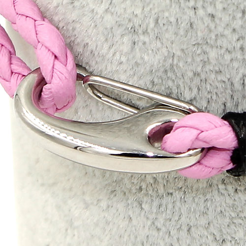 stainless steel mens braided leather bracelets clasp pink
