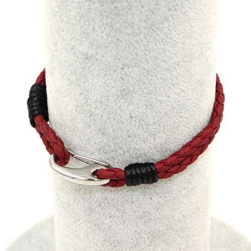 Stainless steel Men's Braided Leather Bracelets Clasp, red wine