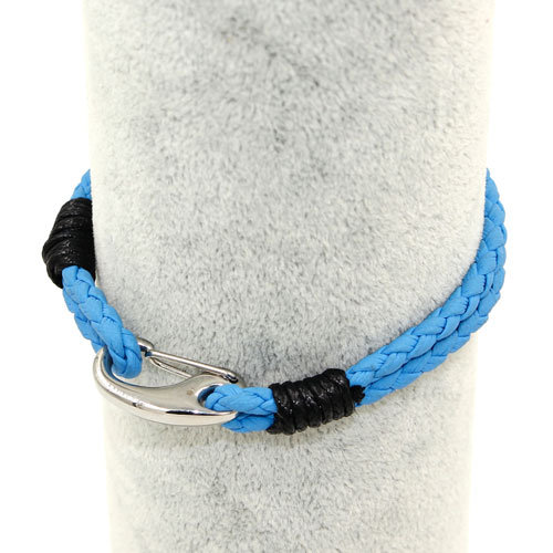 Stainless steel Men's Braided Leather Bracelets Clasp, sky blue