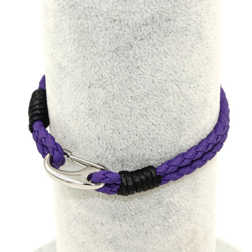 Stainless steel Men's Braided Leather Bracelets Clasp, purple color