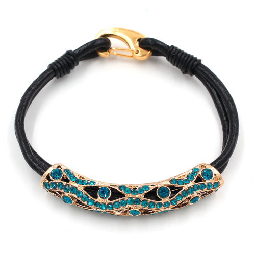 Carabiner Clasp Bracelet, 2.5mm round leather, gold clasp and tube, 2-Coil blue leather Bracelet