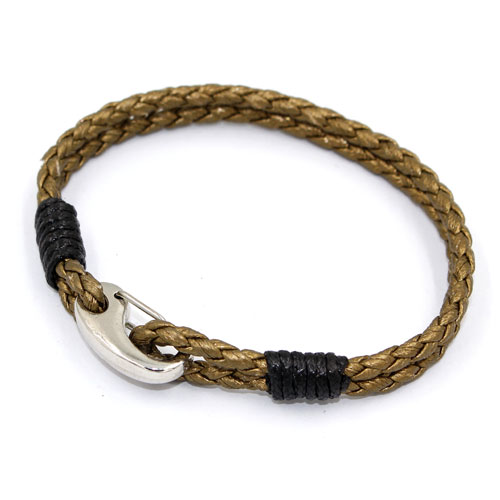 Stainless steel Men's Braided Leather Bracelets Clasp khaki