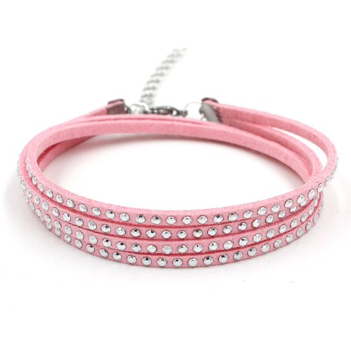12Pcs Studded Faux Suede Leather bracelet pink, Stainless steel Accessories