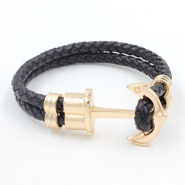 Genuine Black Leather Cord anchor leather cord, rose gold plated