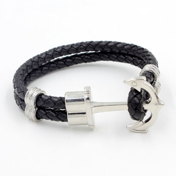 Genuine Black Leather Cord anchor leather cord, silver plated