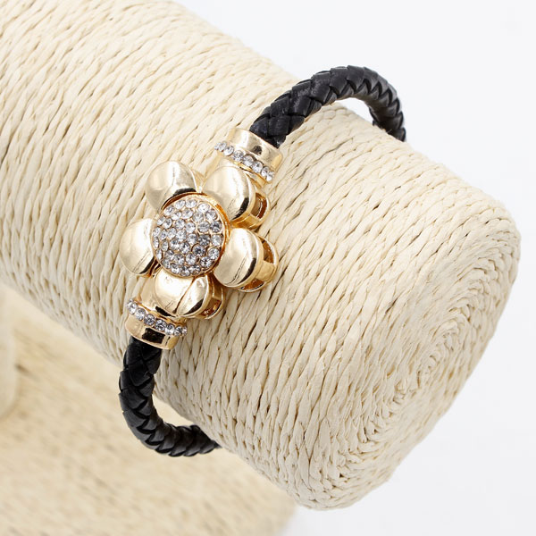 Black Genuine Leather Cord Bracelet, Rose gold Plated flower Magnetic clasp