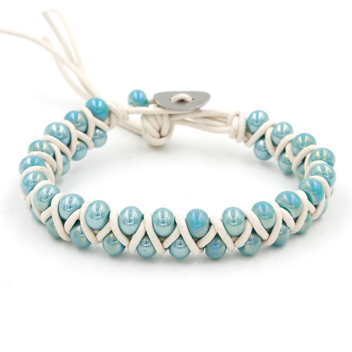 New Fashion hand made Weave blue glass beads leather bracelet, stainless steel buckle