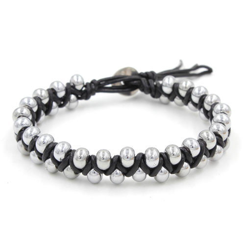 New Fashion hand made Weave silver glass beads leather bracelet, stainless steel buckle