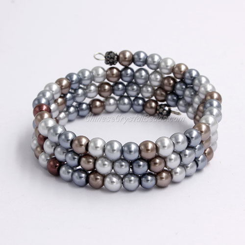 Memory Wire Bracelet, 6mm glass pearl beads, #002