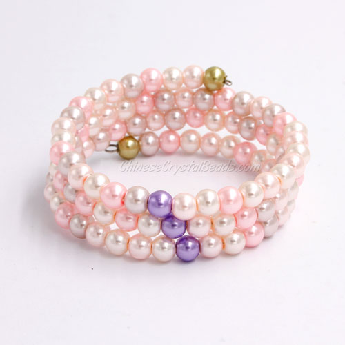 Memory Wire Bracelet, 6mm glass pearl beads, #003
