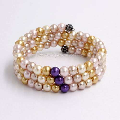 Memory Wire Bracelet, 6mm glass pearl beads, #005