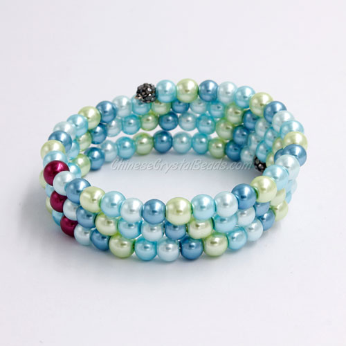 Memory Wire Bracelet, 6mm glass pearl beads, #006