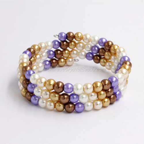 Memory Wire Bracelet, 6mm glass pearl beads, #008