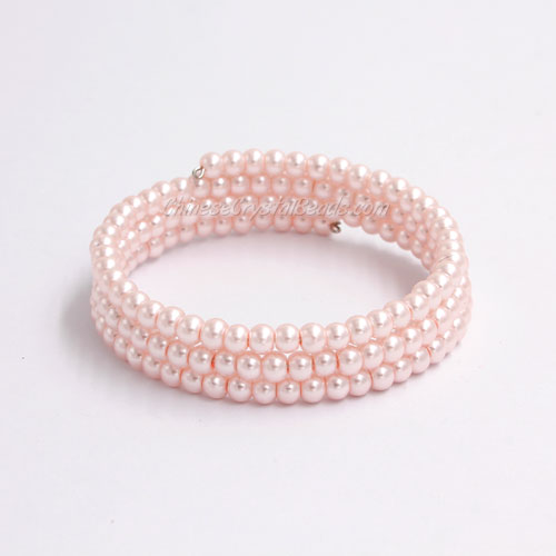 Memory Wire Bracelet, 4mm glass pearl beads, #011