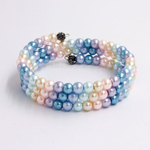 Memory Wire Bracelet, 6mm glass pearl beads, #012