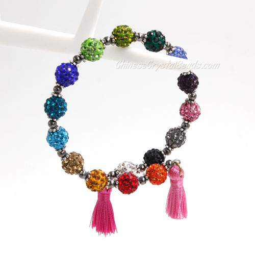 Memory Wire Bracelet, mix color 6mm pave clay beads, 1pc