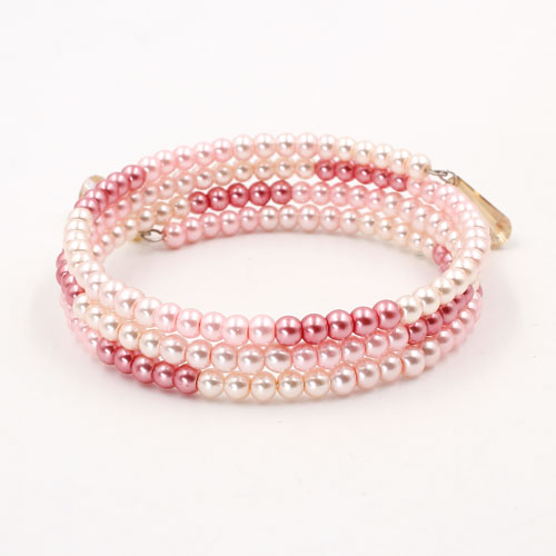 Memory Wire Bracelet, 4mm glass pearl beads pink lovely