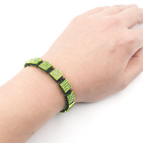 Memory Wire Bracelet, green alloy square pave beads, #015