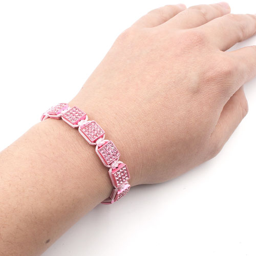 Memory Wire Bracelet, pink alloy square pave beads, #015