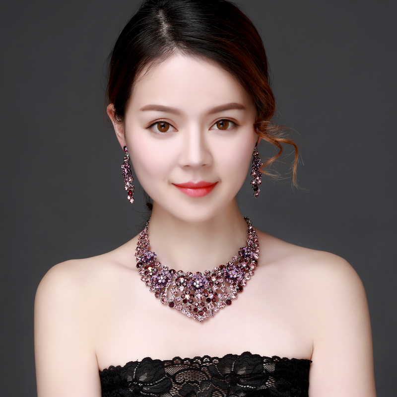 Purple Crystal Rhinestone Crystal Statement Necklace - Luxury Elegant Fashion European Baroque Flower Necklace For Party