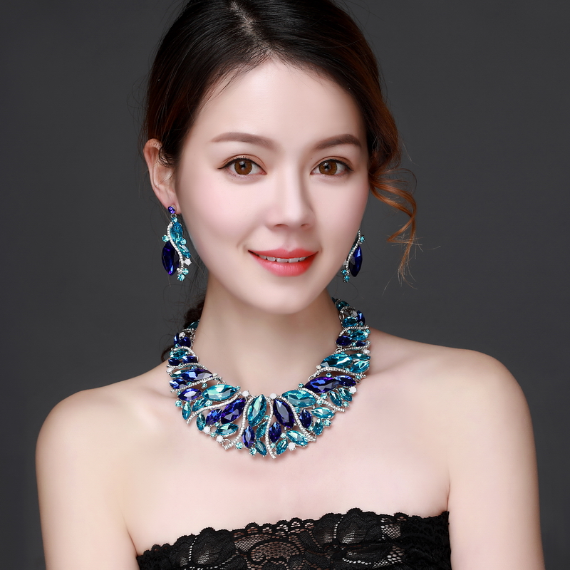 Blue Crystal Rhinestone Crystal Statement Necklace - Luxury Elegant Fashion European Baroque Necklace For Party